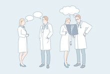 Doctor Work, Medical Consultation, Concilium Concept. Medicine, Injury Treatment, Therapy, Male And Female Traumatologists With Roentgenogram, People And Speech Bubbles. Simple Flat Vector