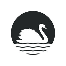 Swan Graphic Icon. Swan On The Water Sign In The Circle Isolated On White Background. Logo. Vector Illustration