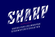 Modern Font Design With Sliced Effect, Alphabet Letters And Numbers