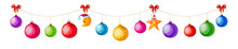 Christmas Garland Of Colorful Balls And Icons Isolated