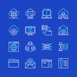 Web Hosting Icon Pack. Vector Line Style.