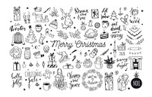 Big Merry Christmas And Happy New Year Festive Vector Collection. Different Hand Drawn Doodle Elements, Christmas Tree, Fireplace, Cozy Sweater, Winter Holidays Attributes.