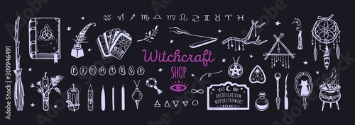 Fotografia  Witchcraft, magic background for witches and wizards