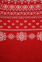 Red Knitted Fabric With Nordic Geometric Ornament