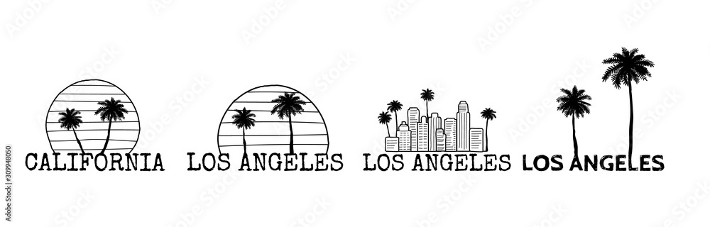 Fototapeta Los Angeles symbol set. Line drawing with palm tree silhouette. Cityline. Vector sketch illustration