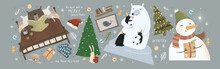 We Wish You A Merry Christmas And A Happy New Year! Vector Cute Illustration Of Santa Claus At Home In The Living Room And Animal Bunnies Decorating The Christmas Tree On The Eve Of The Holiday.