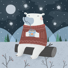 Polar Bear With A Cocktail On The Nature In The Evening In The Winter Forest. Freehand Drawing For Christmas Or New Year Card, Background Or Poster.