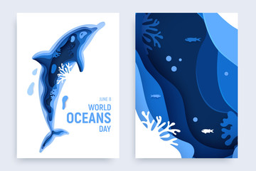 FototapetaPaper art world ocean day banner set with dolphin silhouette. Underwater world page layout. Paper cut sea background with dolphin, waves and coral reefs. Craft vector illustration