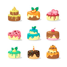 Whole Cakes With Frosting And Fruit Flat Vector Illustration Set