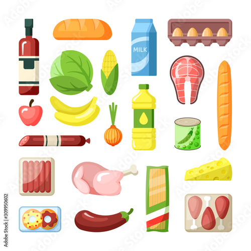 Fotografía Common supermarket grocery products flat vector illustration set