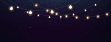 Magic Lights On Night Dark Blue Sky With Sparkling Stars