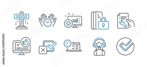 Cuadros en Lienzo  Set of Technology icons, such as Attraction, Support, Medical analytics, Safe time, Checkbox, Online test, Like video, Blocked card, Repair document, Verify line icons