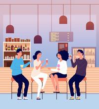 Friends In Pub. Men And Women ...