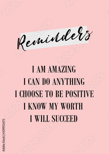 Daily reminder. Positive affirmations poster Canvas Print
