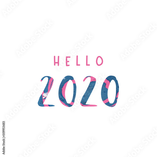 Hello 2020. New year 2020 card. Typography with paint splashes Tablou Canvas