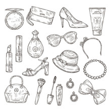 Sketch Womens Accessories. Female Shoes, Lady Handbag And Hat, Mascara And Lipstick, Perfume And Earrings Hand Drawn Vector Set. Handbag And Hat, Female Fashion Accessories Illustration