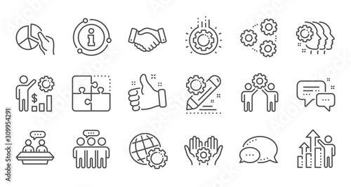 Employees benefits line icons Wallpaper Mural