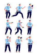 Policeman. American Cop Security Officer, Police Patrol In Uniform With Gun. Professional Guards Cartoon Characters Vector Set. Illustration Officer Cop, Guard American Professional In Uniform