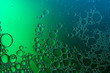 canvas print picture - green liquid with air bubbles, abstract macro photograph