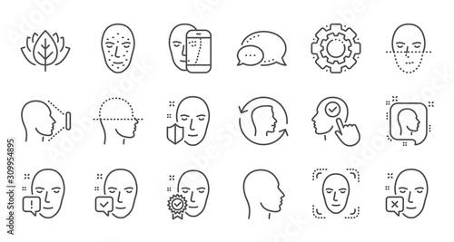 Photo Face recognize line icons