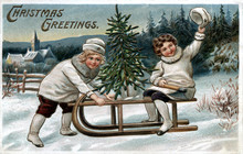 Vintage Christmas Postcard Greeting Card, Two Happy Young Girls, White Coats And Boots, On An Old Fashion Wooden Sled, Evergreen Trees And Cabon.