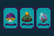 Game Asset Pack. Fantasy Card With Magic Items. User Interface Design Elements With Decorative Frame. Cartoon Vector Illustration. Mushroom, Crystal And Crown.