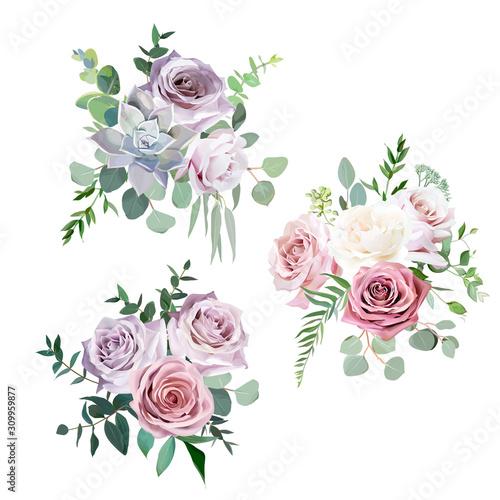 Papel de parede  Dusty pink,creamy white and mauve antique rose vector design wedding bouquets