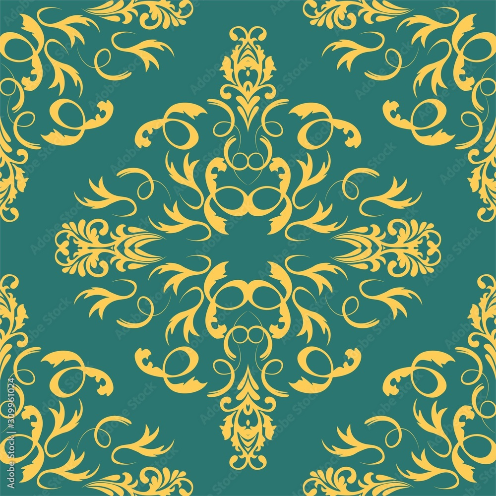 Vintage damask pattern, great design for any purposes. Vector floral damask seamless pattern. Vintage background. Seamless oriental pattern.