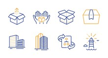 Technical Algorithm, Skyscraper Buildings And Open Box Line Icons Set. Send Box, Buildings And Lighthouse Signs. Project Doc, Town Architecture. Industrial Set. Line Technical Algorithm Icon. Vector