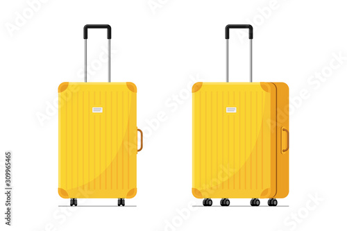 Fotografia Yellow plastic suitcase for travel with wheels and retractable handle front and side view