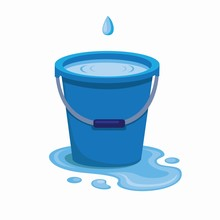 Blue Plastic Bucket Filled Water From Trickle Leaking Water Spilled On The Floor, Liquid Container With Handle Isolated With White Background Illustration Vector