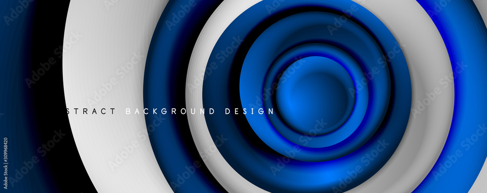 Fototapeta Vector 3d style abstract swirl circles, modern techno digital trendy abstract background. Vector Illustration For Wallpaper, Banner, Background, Card, Book Illustration, landing page