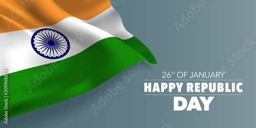 Fotografía India republic day greeting card, banner with template text vector illustration