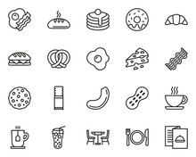 Breakfast Icons Thin Line Set ...