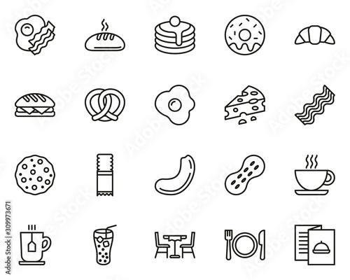 Vászonkép Breakfast Icons Thin Line Set Big