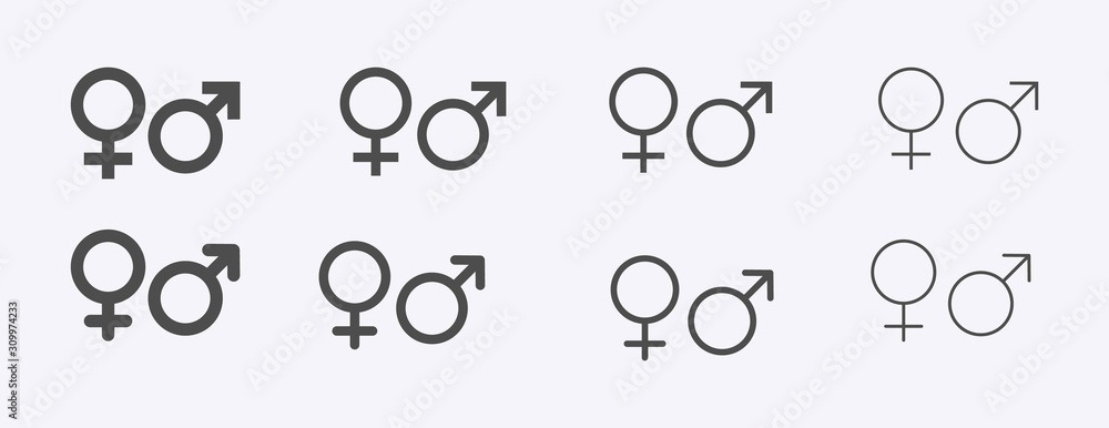 Fototapeta Male female sign, men women symbol, toilet wc vector icon set, gender collection, flat simple design illustration isolated on white