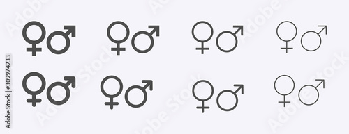 Fototapeta Male female sign, men women symbol, toilet wc vector icon set, gender collection, flat simple design illustration isolated on white obraz