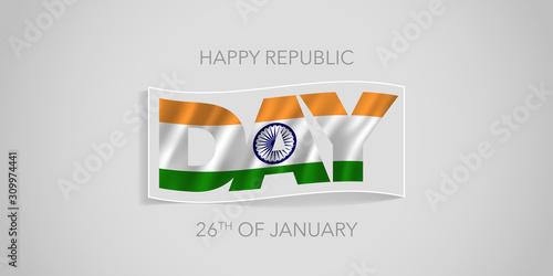 Obraz India happy republic day vector banner, greeting card. - fototapety do salonu