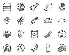 Fast Food Or Junk Food Icons T...