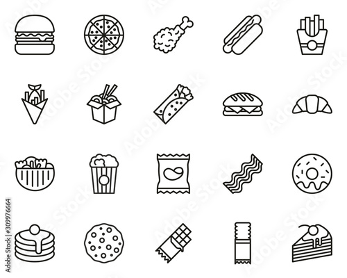 Vászonkép Fast Food Or Junk Food Icons Thin Line Set Big