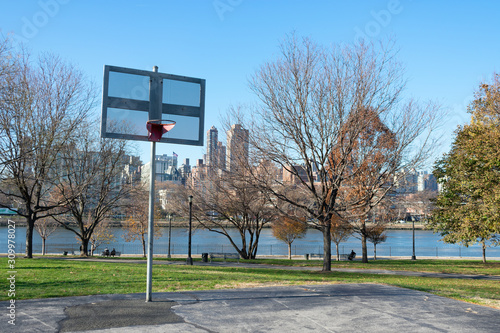 Basketball Hoop at Rainey Park in Astoria Queens New York during Autumn along th Canvas Print