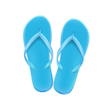 Blue Summer Beach Flip-flops On A White Background, Shoes For The Pool And Beach, Vector.
