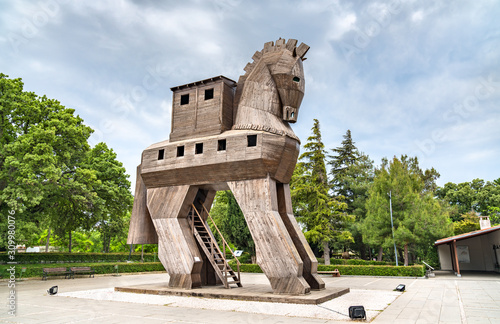 Leinwand Poster The Trojan Horse at the ancient city of Troy in Turkey