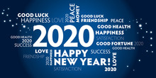 2020 Happy New Year Blue Backg...