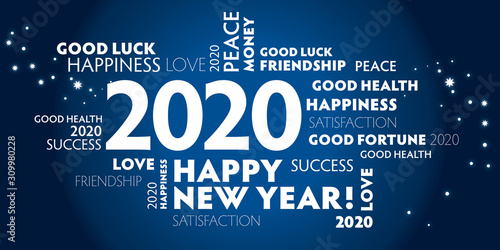 2020 happy new year blue background Poster Mural XXL