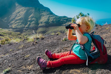 Little Girl Hiking In Mountain...