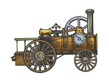 Steam Engine Tractor Sketch En...