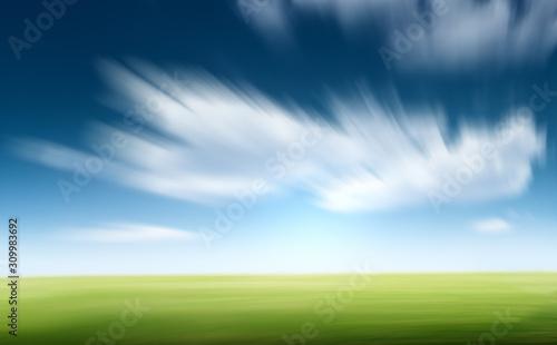 Grass and blue sky motion blur Poster Mural XXL
