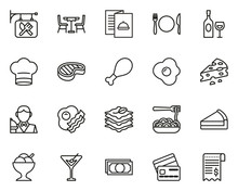 Restaurant Icons Thin Lie Big Set