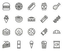Snack Or Junk Food Icons Thin Line Set Big